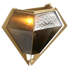 Harlow Wall Sconce by in Brass and Smoked Glass by Gabriel Scott