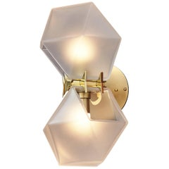 Welles Glass Double Wall Sconce in Brass and Alabaster by Gabriel Scott