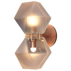 Welles Glass Double Wall Sconce in Copper & Alabaster by Gabriel Scott