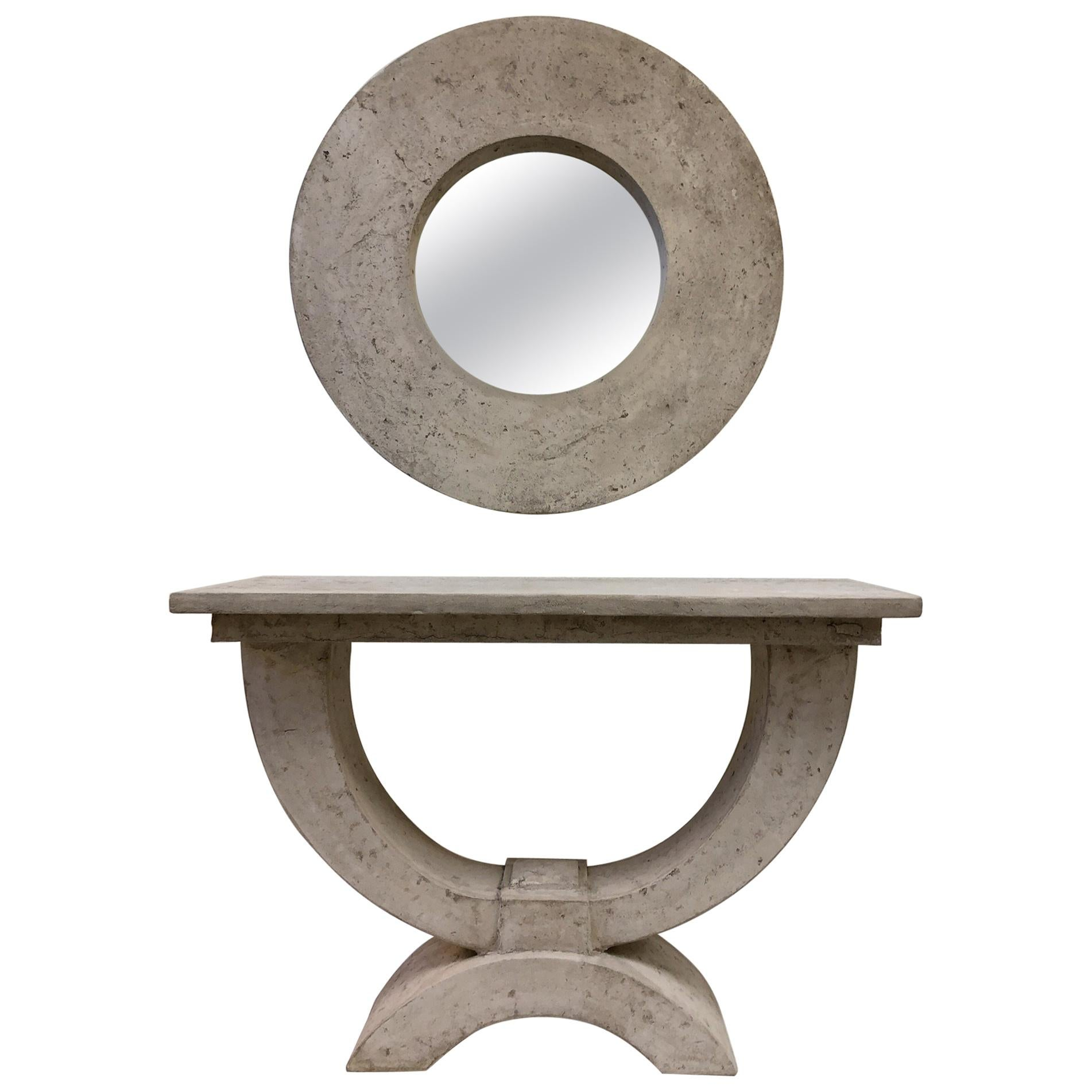 Faux Stone Console Table and Mirror by Michael Taylor