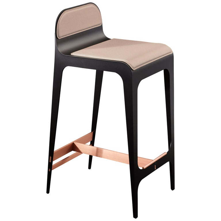 Bardot Stool In Nude And Copper By Gabriel Scott For Sale
