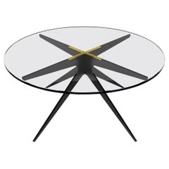 Dean Round Coffee Table in Black Steel and Clear Glass by Gabriel Scott