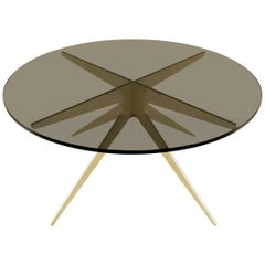 Dean Round Coffee Table in Brass and Smoked Glass by Gabriel Scott