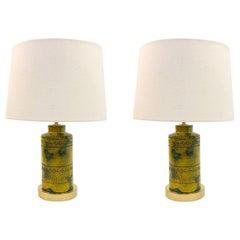 Pair of Italian Ceramic Table Lamps by Bitossi