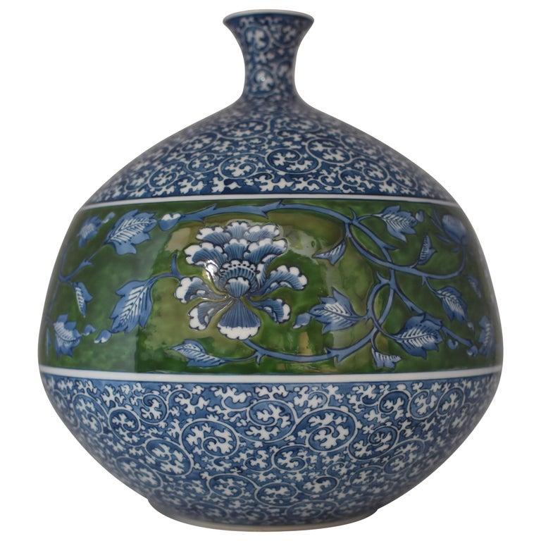Large Japanese Contemporary Blue Green Porcelain Vase by Master Artist For Sale