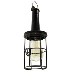 Black Bakelite Vintage Industrial Metal Cage Work Lights