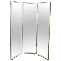 Pescetta Customizable Art Deco Style Mirrored Panels Brass Framed Screen