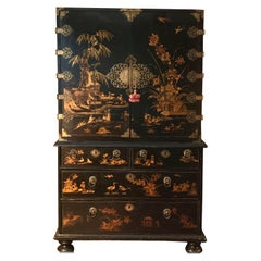 An exceptional English japanned/lacquer cabinet William & Mary period