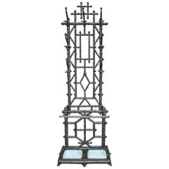 Art Nouveau Cast Iron Coat Stand & Umbrella Stand Bamboo Style, circa 1890