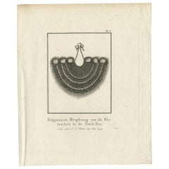 Antique Print Depicting Part of a Native Costume by Cook, 1803