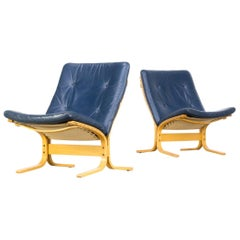 1970s Ingmar Relling 'Siesta' Fauteuil for Westnofa Set of 2 and Ottoman