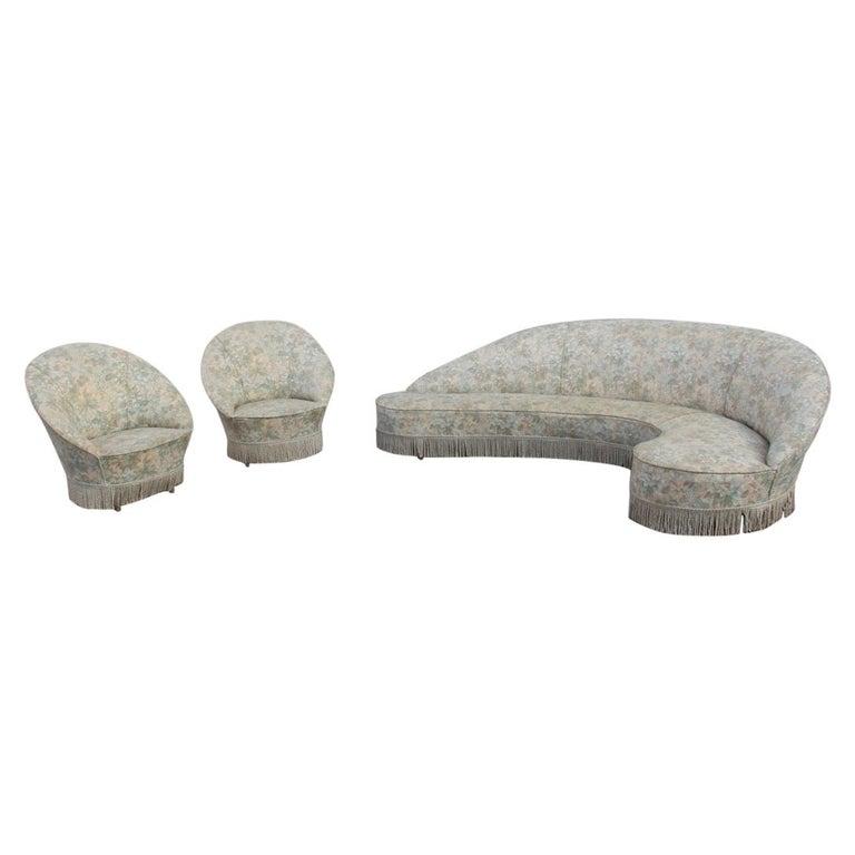 Mid-Century Living Room Sets  Italian Design Curved Sofa Boomerang  For Sale