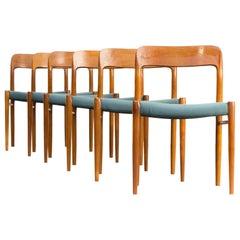 1960s Niels O. Møller Model 75 Dining Chairs for J.L. Møller Set of 6