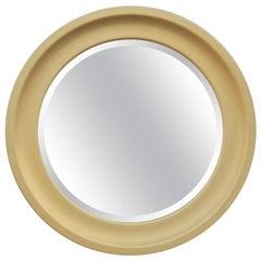 Sergio Mazza Round Mirror Golden Aluminum Italian Design 1960s Satin