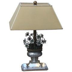 Midcentury Maison Jansen Table Lamp France Design 1950 Crystal Brass Parchment
