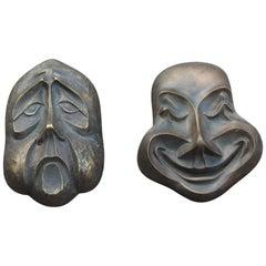 Bronze Low-Relief Clown Masks Italian Design Signed BRONZARTE, 1960s