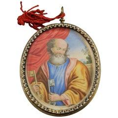 "Reliquary 'Saint Peter and ""Cut-Paper"" Landscape' Silver, Vellum, 17th Century"
