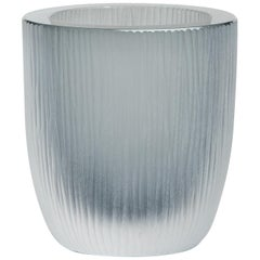 Yali Murano Hand Blown and Engraved Large Kasa Container Grey