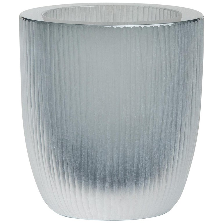 Yali Murano Hand Blown and Engraved Large Kasa Container Grey For Sale