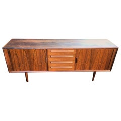 Danish 'Rosewood' Midcentury Sideboard with Tambour Doors and Four Drawers