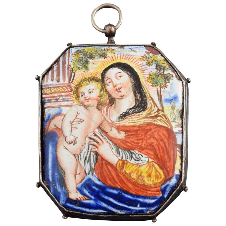 Reliquary Pendant, Silver, Enamel, 17th Century For Sale