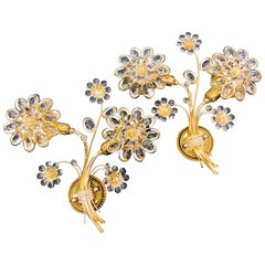 "Stunning Pair of Vintage Gold-Plated ""Palwa"" Crystal Flower Sconces"