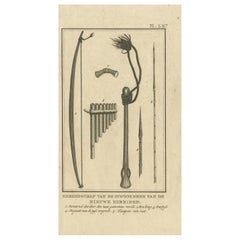 Antique Print Depicting Tools of the New Hebrides by Cook, 1803