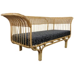 1950s Franco Albini Design Rattan Sofa with Jean Paul Gaultier Cushion Seat