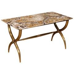 20th Century Italian Metal, Marble Italian Design Coffee Table, 1940