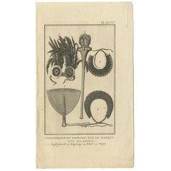 Antique Print depicting Weapon Decorations of the Marquesas by Cook '1803'