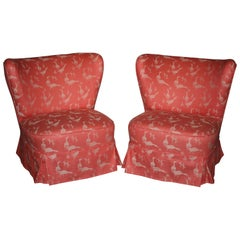 Cocktail Chairs, New Upholstery, Set of 2, 1950s
