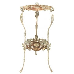 Art Nouveau Rare Cast Iron Side Garden Small Table, Étagère, circa 1820