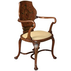 Highly Decorative Edwardian Satinwood and Painted Armchair in the Georgian Style