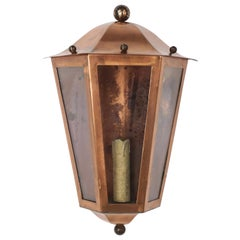 French Design Copper and Glass Lantern Pair of Wall Light