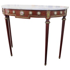 Decorative Marble-Topped Side Table with Porcelain Panels