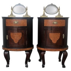 Art Deco Style Marquetry Nightstands with Metal and Mirror Crest, Pair