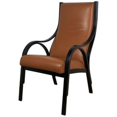 Italian for Poltrona Frau Cavour tobacco Leather black wood structure Armchair