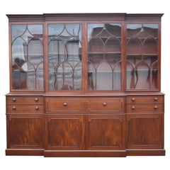 English George III Mahogany Breakfront Bookcase with Secretary