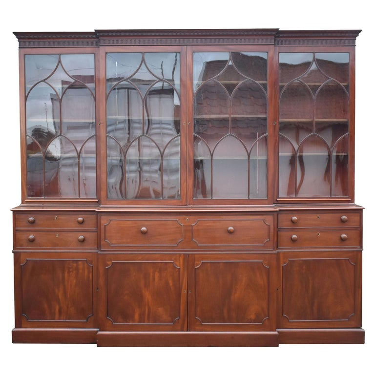 English George III Mahogany Breakfront Bookcase with Secretary For Sale
