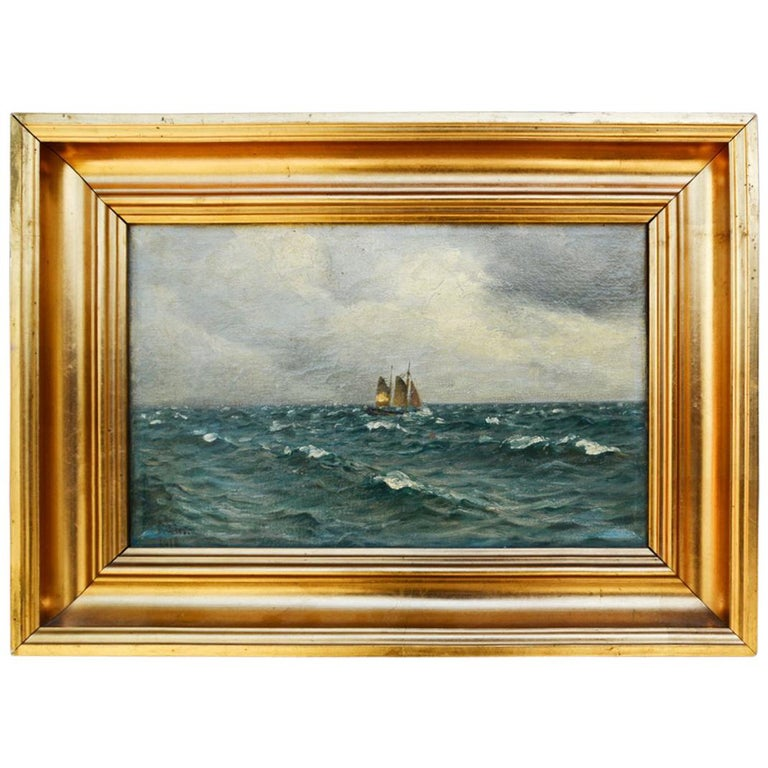 Holger Lübbers, Sailboat on Stormy Seas, Dated 1918 For Sale