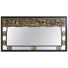 Chinese Export Carved Parcel Gilt Wall Mirror