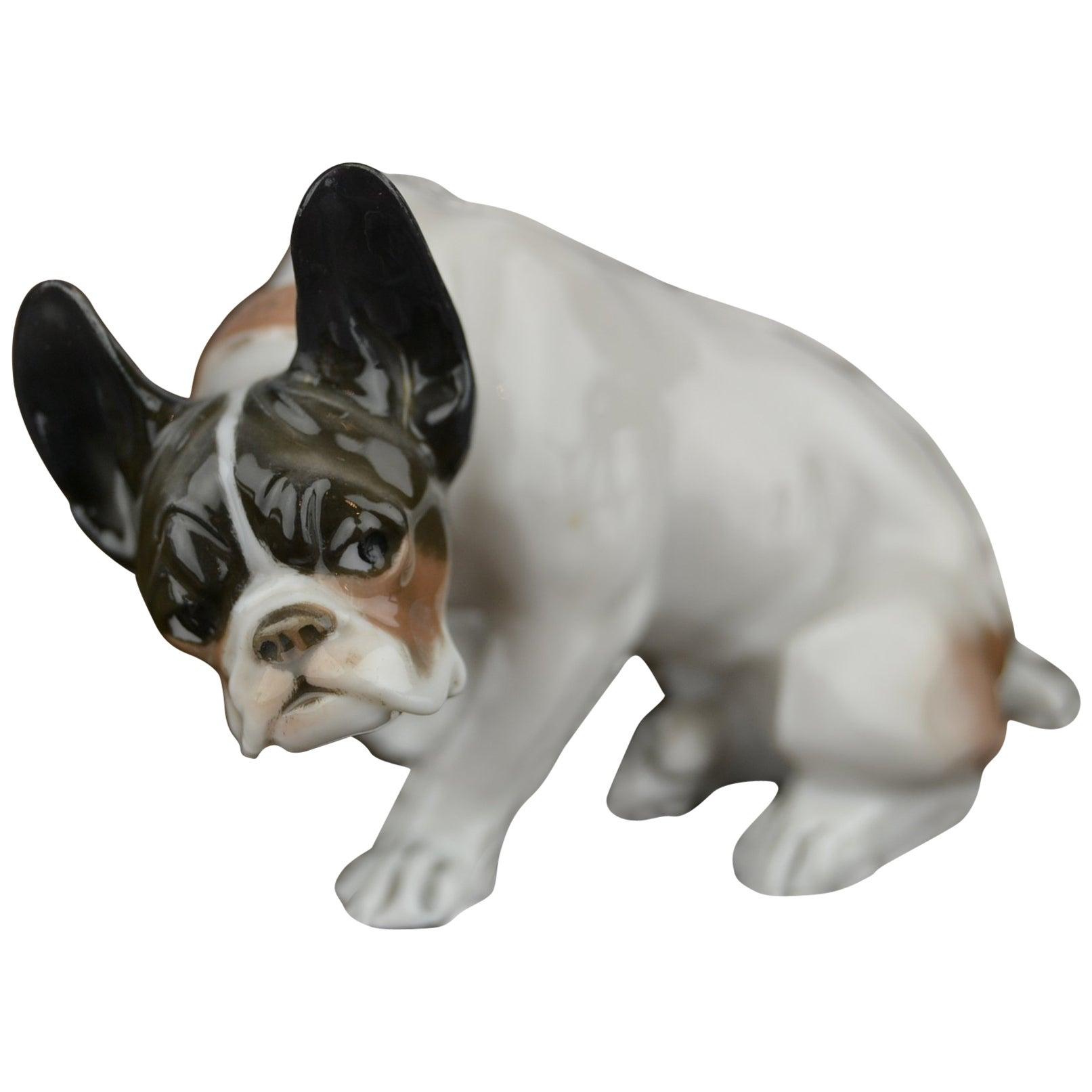 F.Diller signed Porcelain French Bulldog by Rosenthal Selb Bavaria, 1920s