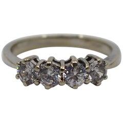 Four Stone Diamond Style Ring 9ct White Gold
