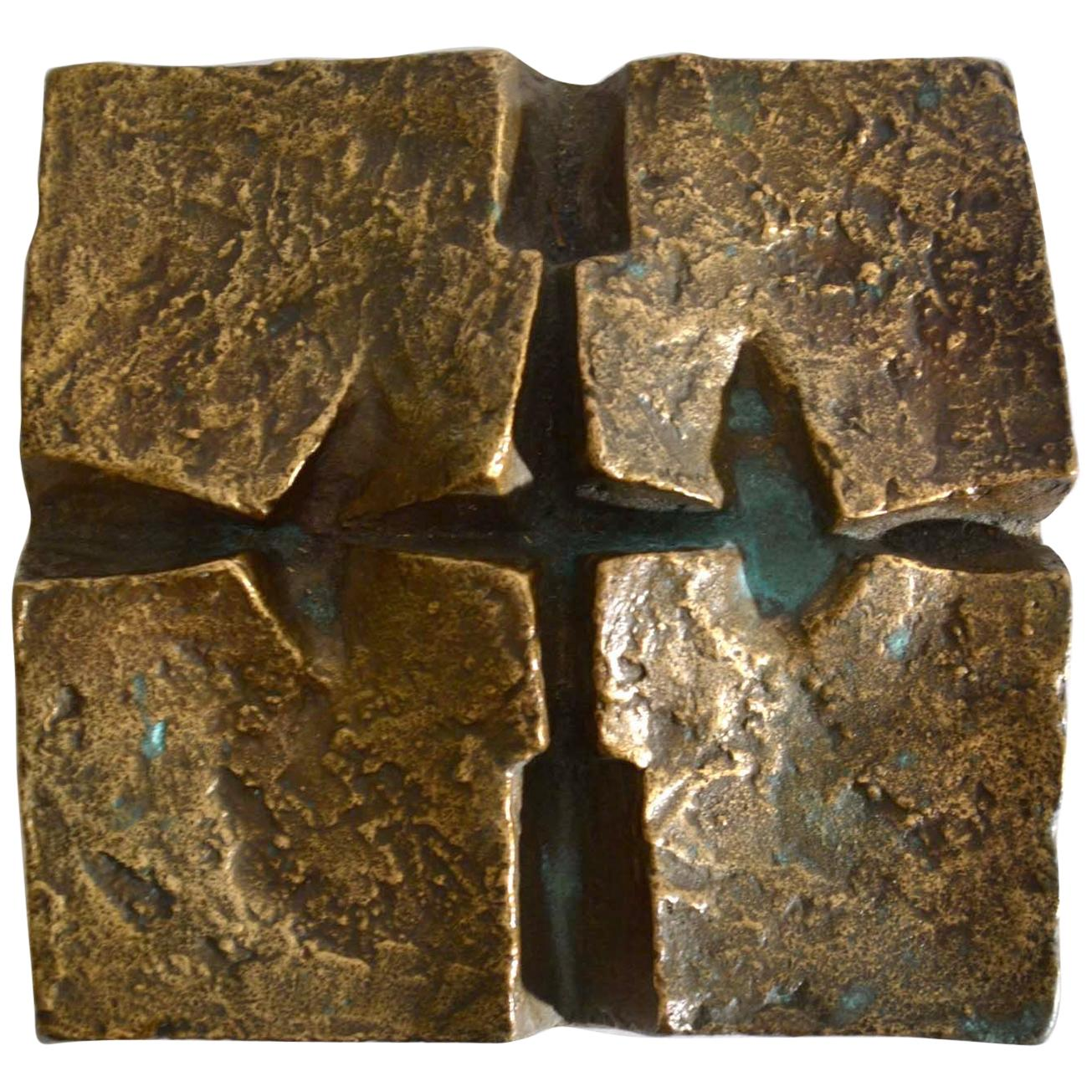 Abstract Brutalist Wall Mounted Bronze Relief 1960's