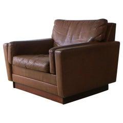 Danish 1960s Mid Century Leather Armchair