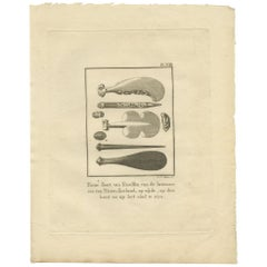 Antique Print of Some Kind of 'Clubs' from New Zealand by Cook, 1803