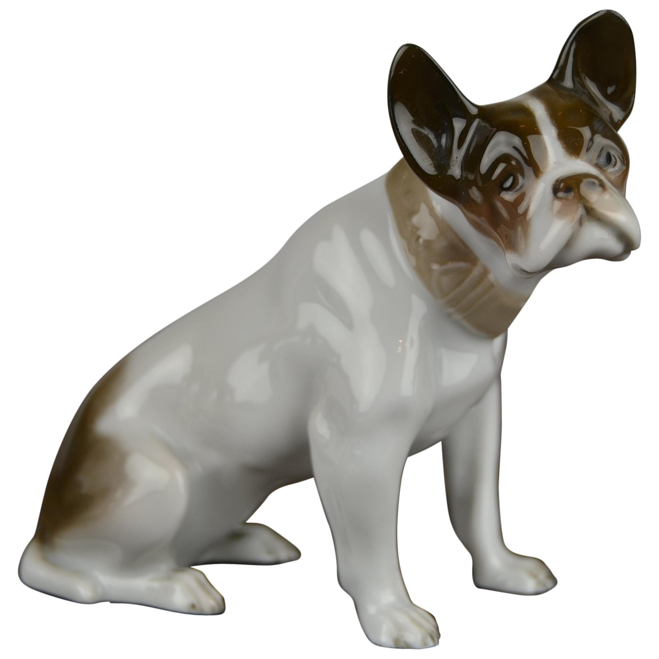 1920s French Bulldog Figurine Rosenthal Selb Bavaria Germany, Art Deco Porcelain