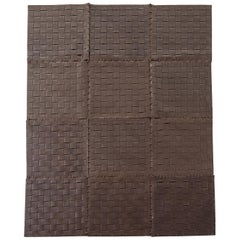 Woven Leather Strap Rug or Carpet