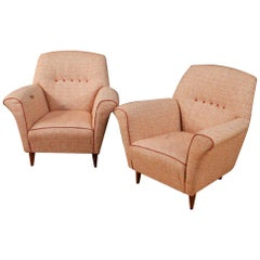 20th Century Pink Fabric Italian Pair Of Design Armchairs, 1960