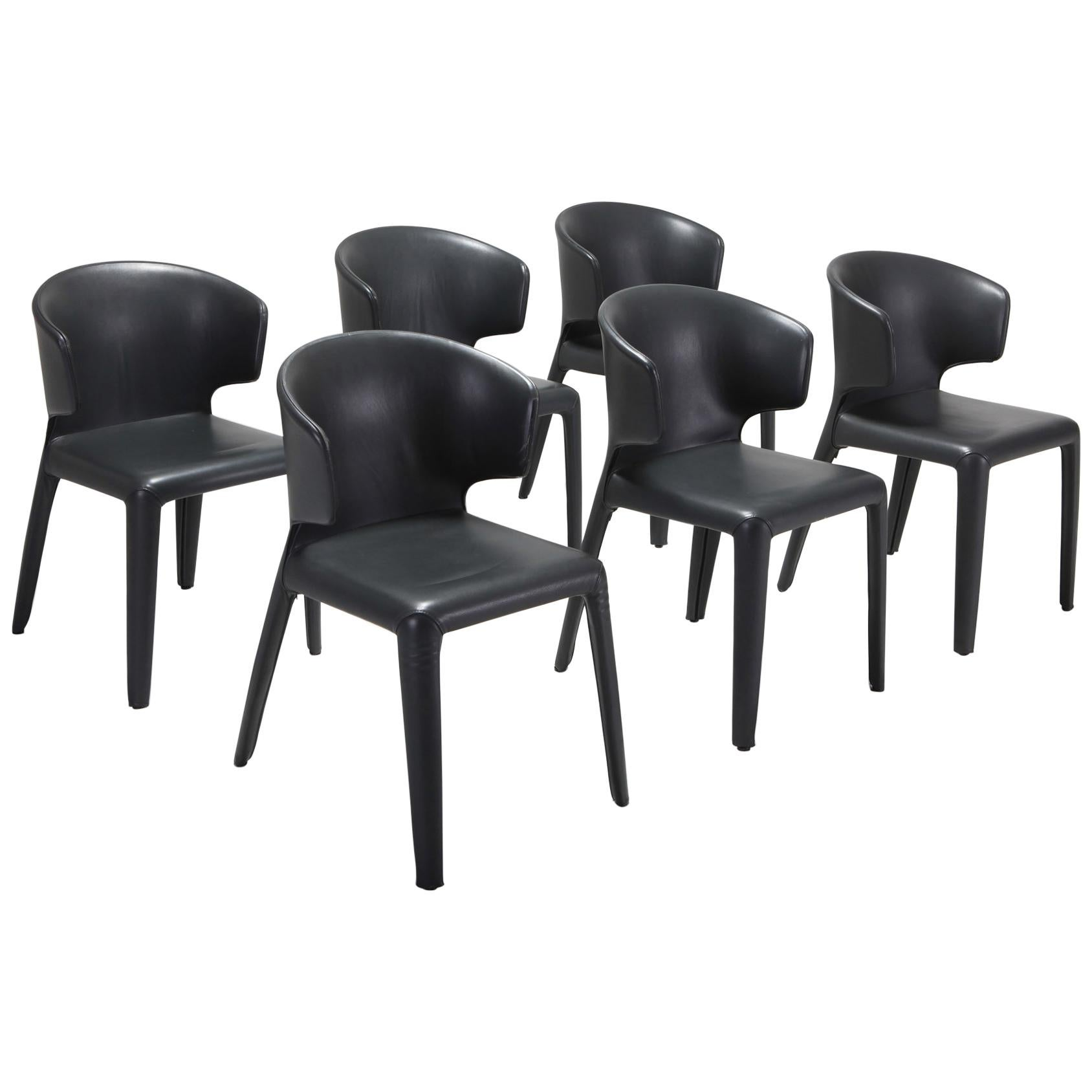 Cassina 367 Hola Chairs By Hannes Wettstein Full Leather Version For Sale